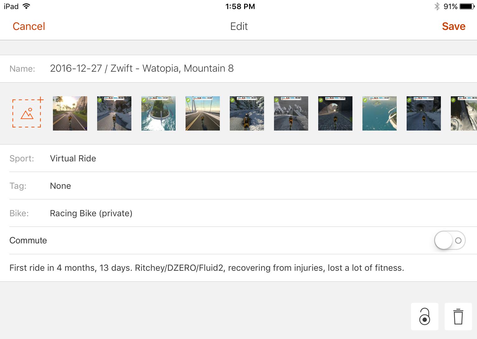 Editing a Strava activity on an iPad