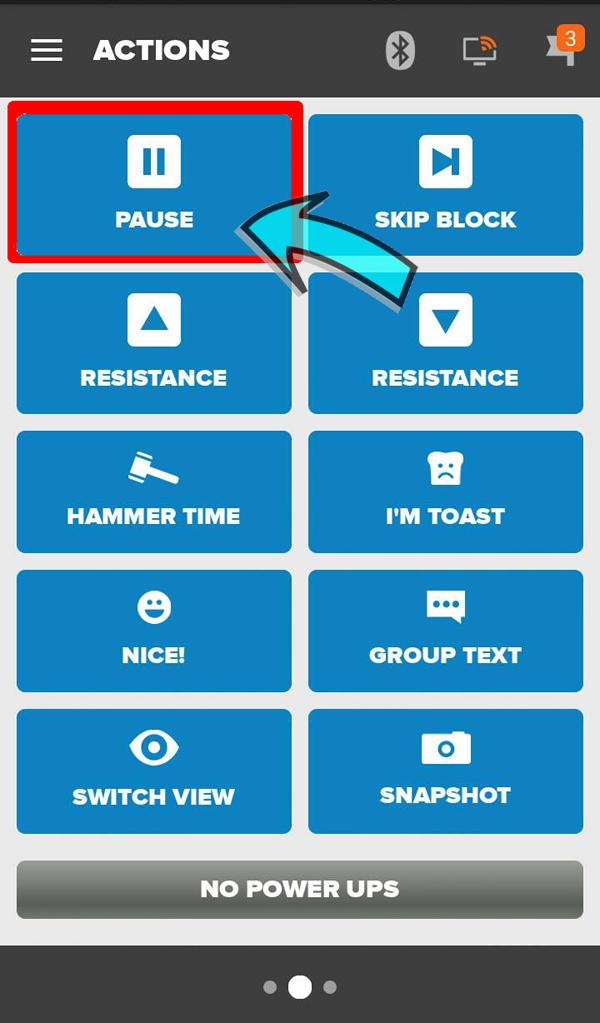 Zwift Workout Pause Button
