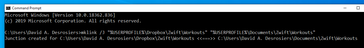 Making a junction on Windows for the Zwift workouts folder