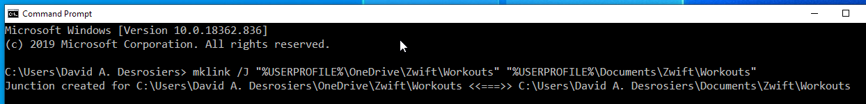 Creating junctions inside OneDrive for Zwift data