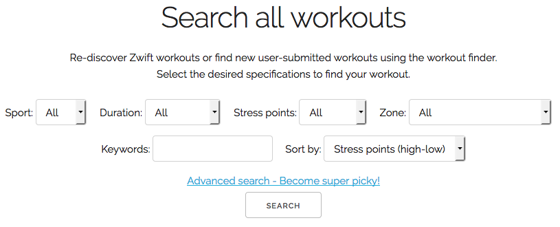 WhatsOnZwift - Search Workouts