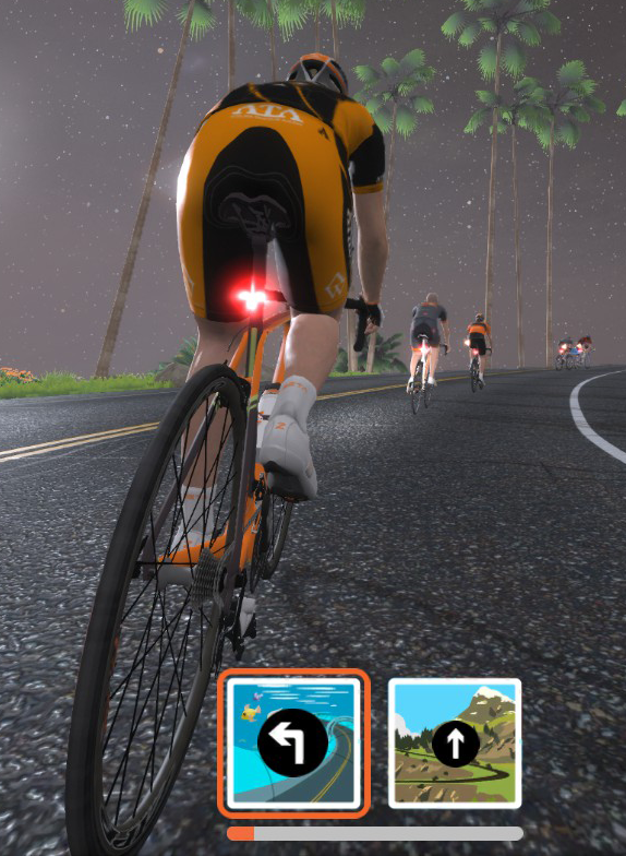 Zwift turning into an intersection