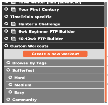 Zwift Workouts under subdirectories