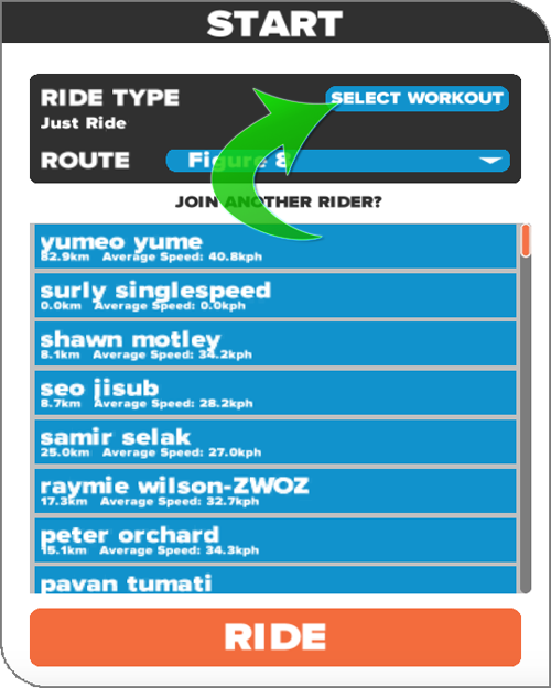 Zwift - Select Workout